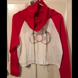 Rainbow Hello Kitty Bow Crop Cotton Hoodie Funnel